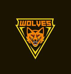 wolves mascot logo design template vector image