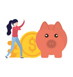 woman with pig and coins isolated icon vector image