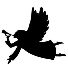 angel xmas silhouette vector image