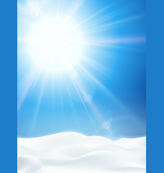 bright clear blue winter sky with sun and snow vector image vector image