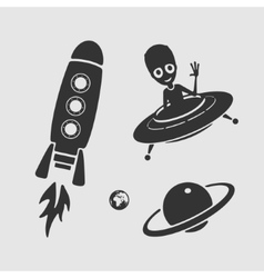 Character set space ufo vector image vector image