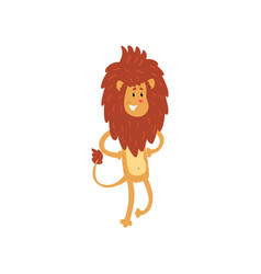 cute smiling lion cartoon character standing on vector image vector image