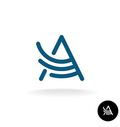 Letter A linear wing logo vector image vector image