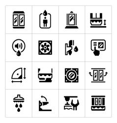 Set icons of shower cabin vector image vector image