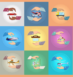 set of pictures with hands protecting things vector image