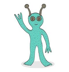 Smiling alien waving hand vector image