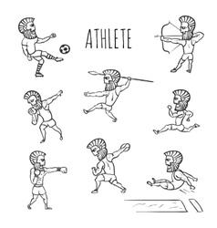 Athlete hand drawn set vector image