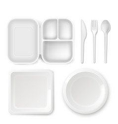 disposable plastic dishware of vector image vector image