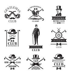 gentleman club badges set vector image