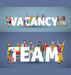 group team business people and words vector image vector image