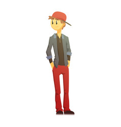 guy in red pants and cap young person street vector image vector image