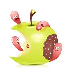 Worm eaten rotten apple 3D vector image vector image