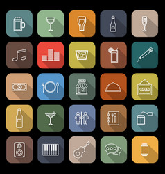 bar line flat icons with long shadow vector image