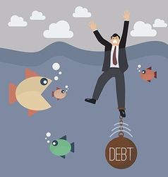 Businessman get drowned because debt weigh vector image