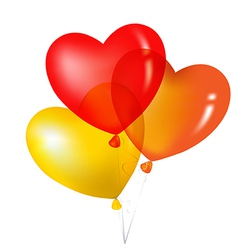 Colorful heart shape balloons yellow red and vector