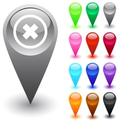 Delete cross button vector image vector image
