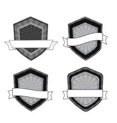 retro black and white shields vector image vector image