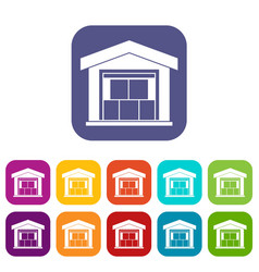 warehouse building icons set vector image