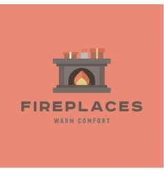 Warm and cozy fireplace of flat vector image