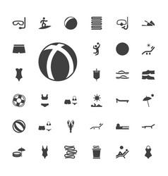 33 beach icons vector