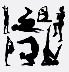 Aerobic man and woman sport silhouette vector image