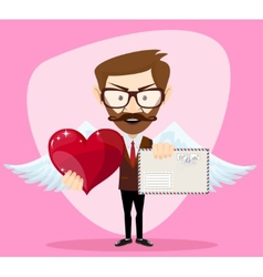 Angel Man-hipster with Wings a heart and Letter vector