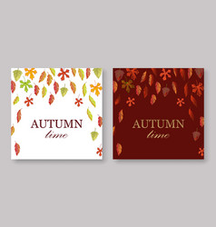 autumn leaves banners set with white and burgundy vector image