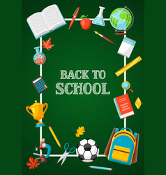 Back to school background with education items vector
