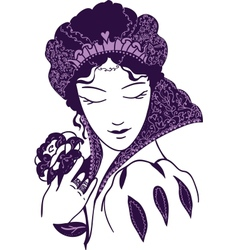Baroque queen with a rose vector