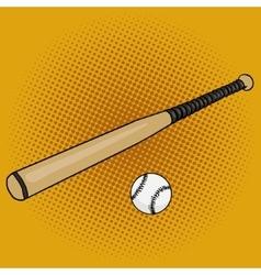 Baseball bat and ball pop art style vector image