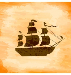 boat on the background grunge vector image