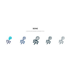 Bone icon in different style two colored vector