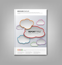Brochures book or flyer with colored clouds vector