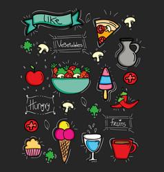 bundle delicious food pattern background vector image