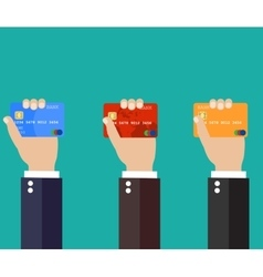 Businessman hand holding credit card vector image