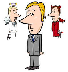 businessman with angel and devil vector image