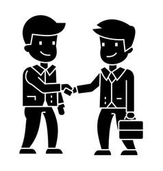 businessmen handshaking icon vector image