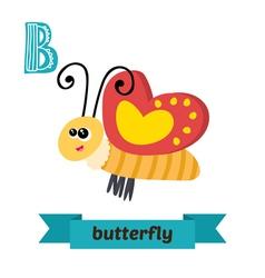 Butterfly B letter Cute children animal alphabet vector image