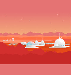 Cartoon mars colonization card poster vector