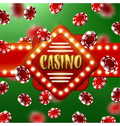 Casino sign with background of poker chips vector