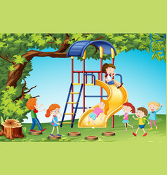 Children playing slide in playground vector