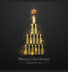 Christmas poster with golden champagne bottle vector