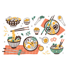 Collection ramen in bowls and chopsticks set vector