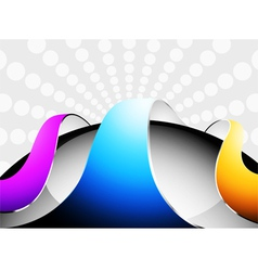 Colorful curved glossy on a black circular vector image