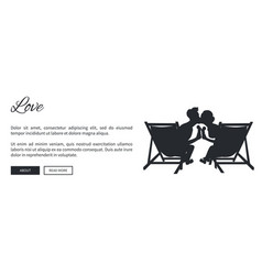 couple on sunbeds silhouette web banner vector image