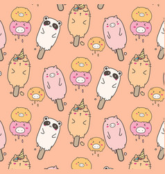 Cute animal ice cream pattern background vector