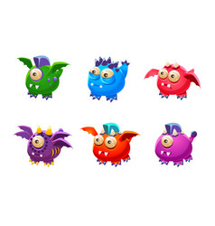 cute colorful little glossy fantastic monsters set vector image