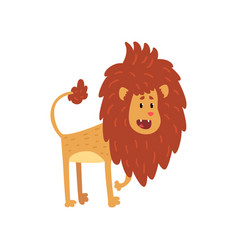 Cute funny lion cub cartoon character with open vector