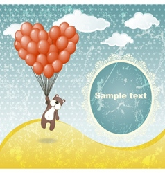 Cute teddy bear with a balloon vector