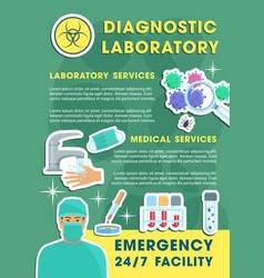 Diagnostic laboratory poster with lab equipments vector